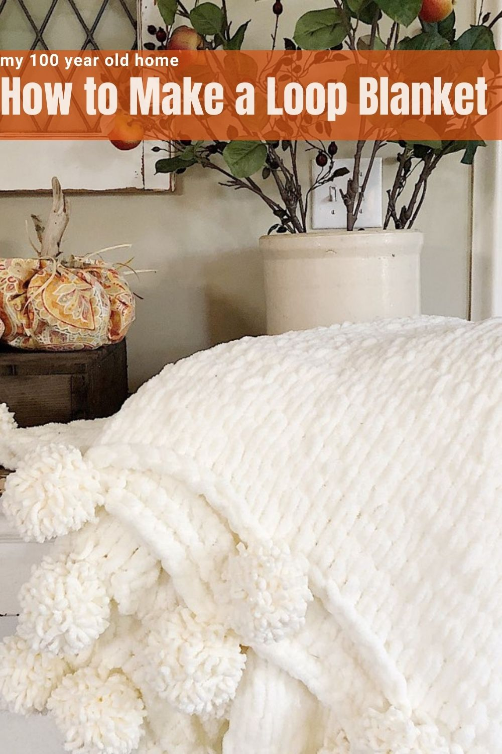 """I am really excited to share with you an awesome DIY fall decor project. I made this amazing """"finger-knitted"""" blanket and it is the best."""