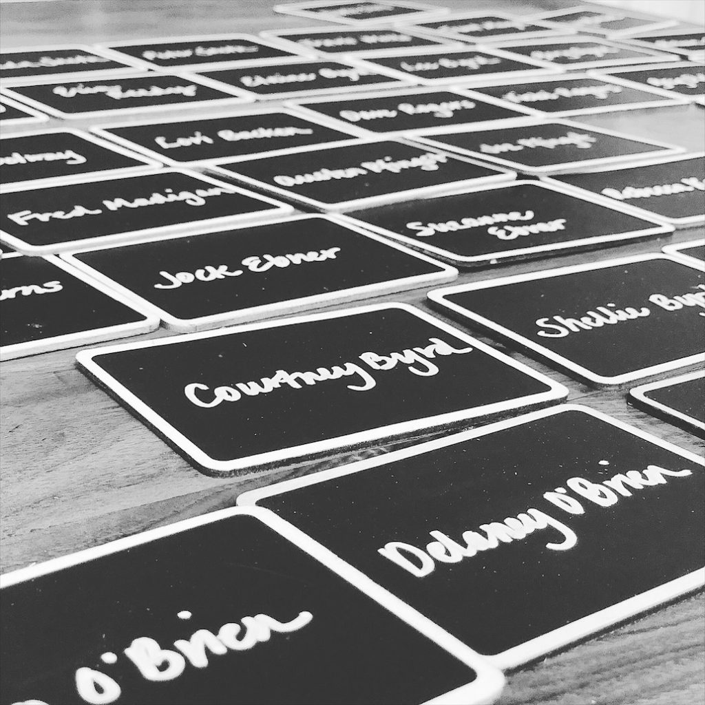 The Final Creative Place Cards of the Engagement Party