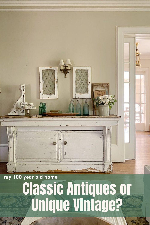 Classic antiques or unique vintage? I love vintage items like vintage mirrors, vintage glassware, vintage chandeliers, and vintage quilts.