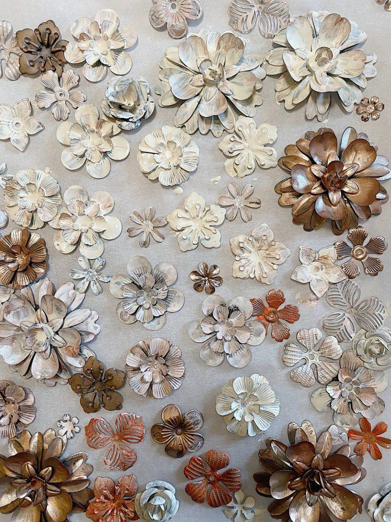 Fall Metal and Leaf Wreath DIY Painted Flowers