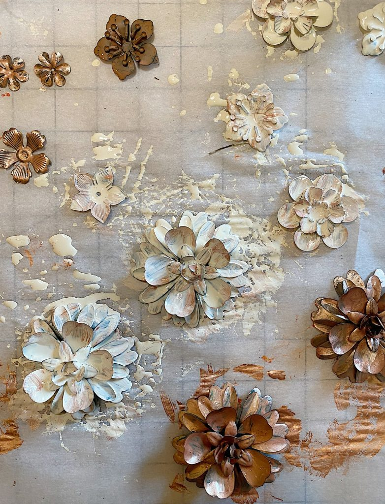 Fall Metal and Leaf Wreath DIY Painting the Flowers