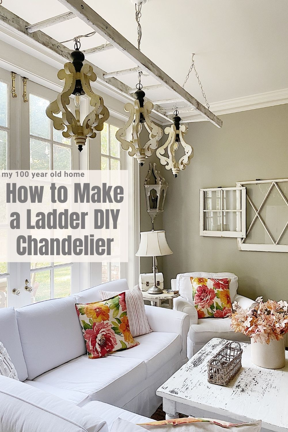 I love this Farmhouse Style Vintage Ladder DIY Chandelier so much. Today I am going to show you how to make your own.