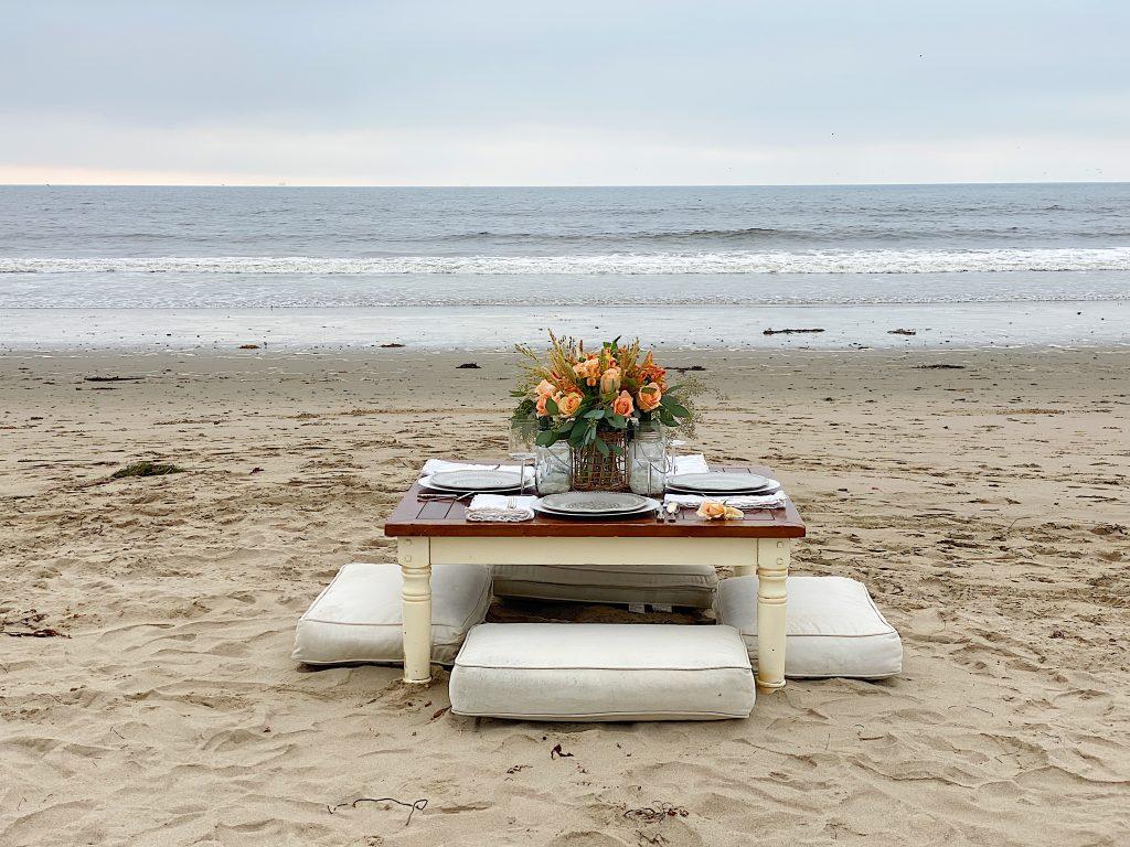 Setting up Dinner on the Beach
