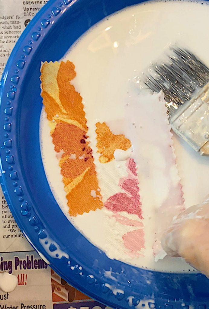 Adding Glue to the fabric Cinderella Pumpkin