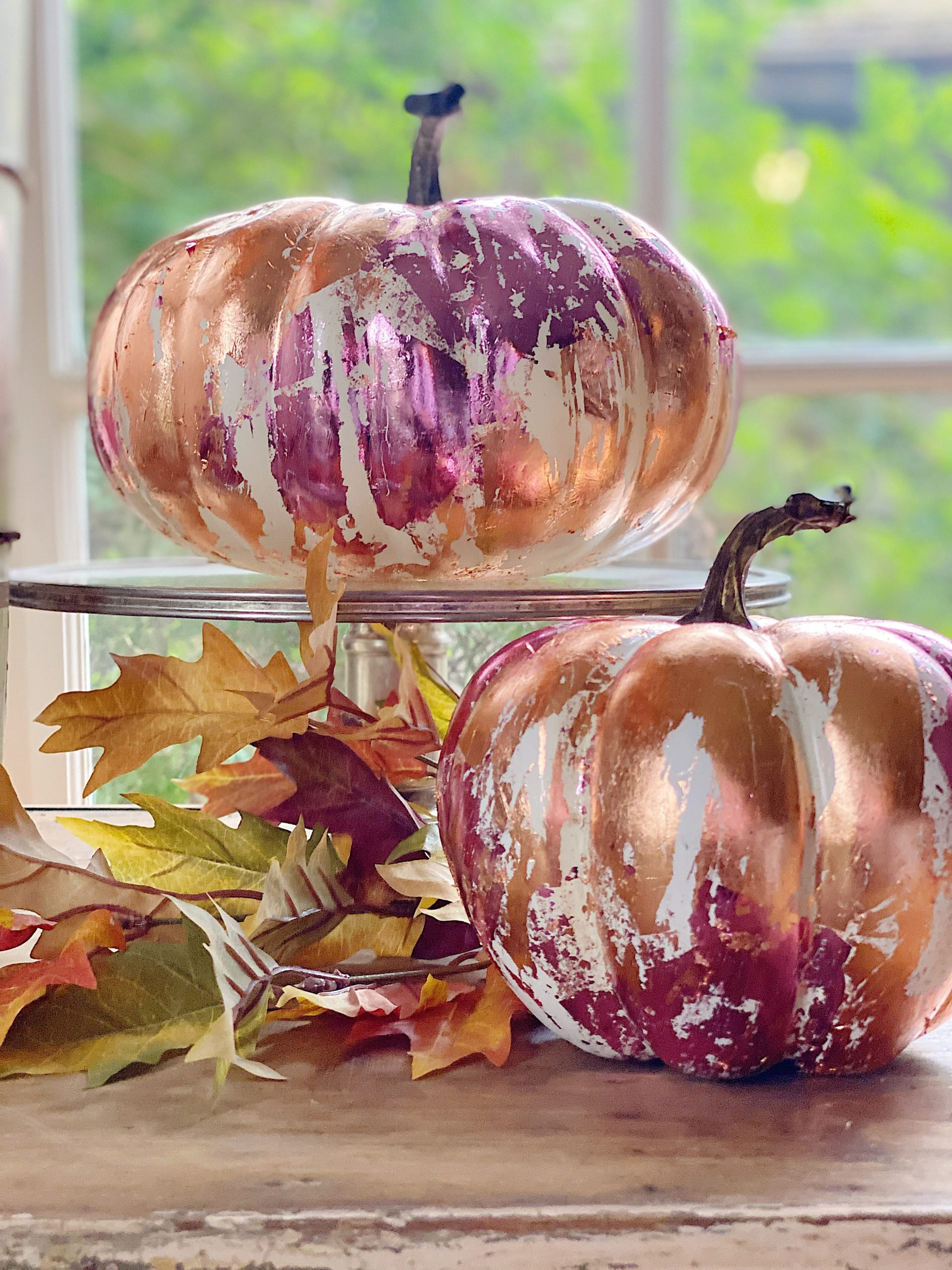 Copper and Pink Metal Leaf Fall Pumpkins