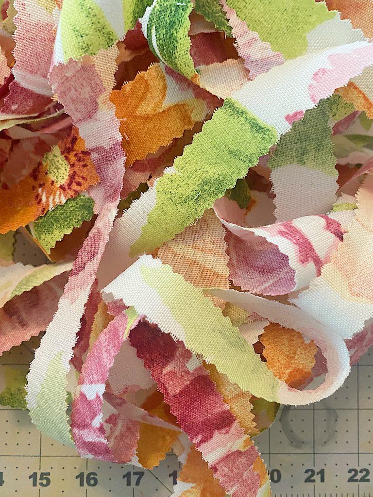 Cut Fabric for Cinderella Pumpkin Crafts