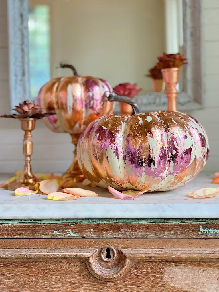 DIY Fall Pumpkin with Metal Leaf