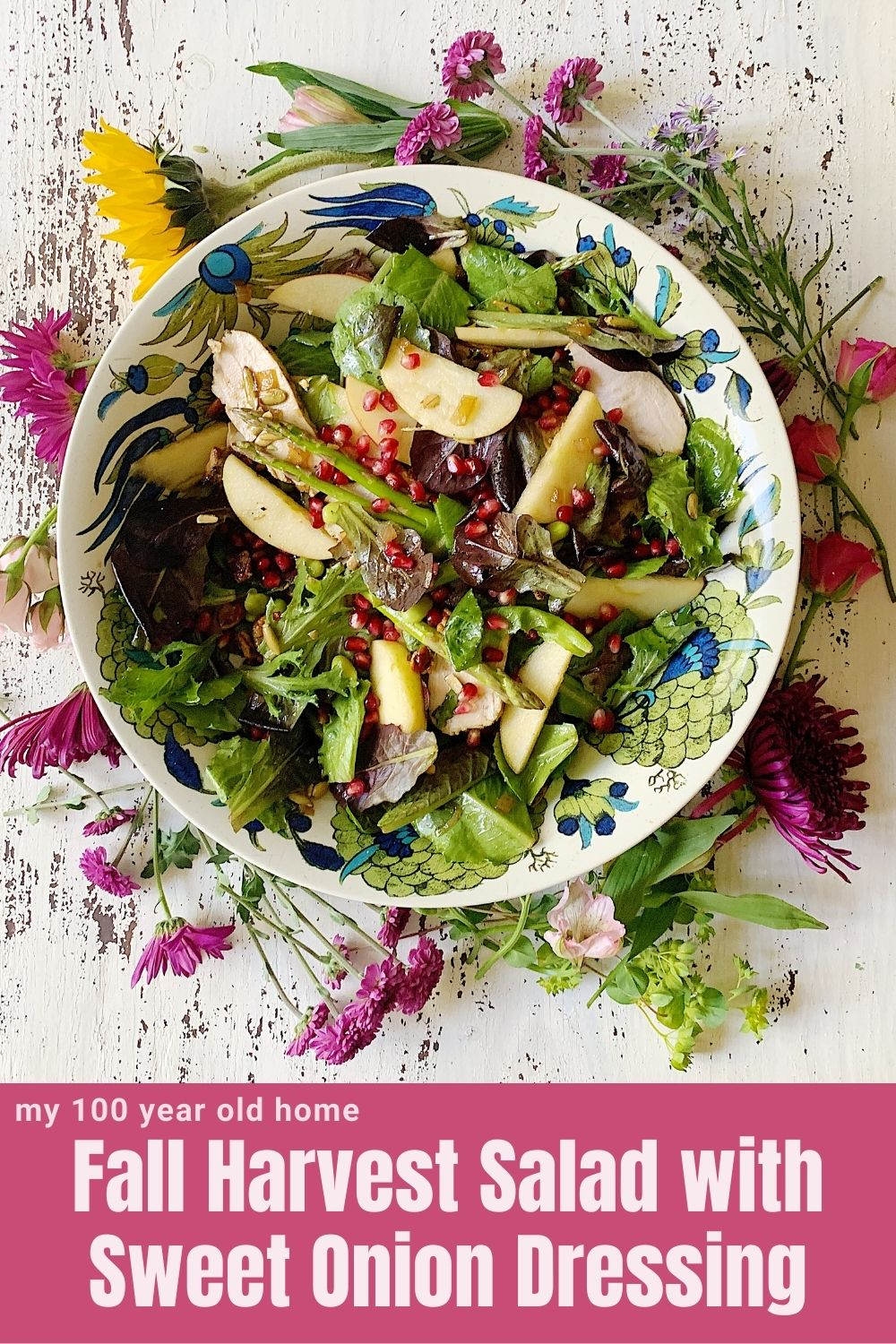 I am always creating fun salads and this Fall Harvest Salad with Sweet Onion Dressing just might be my favorite.