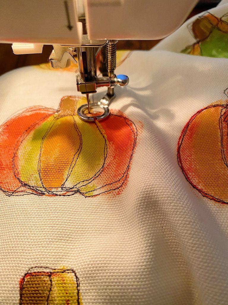 Stitching the Pumpkin Pillow